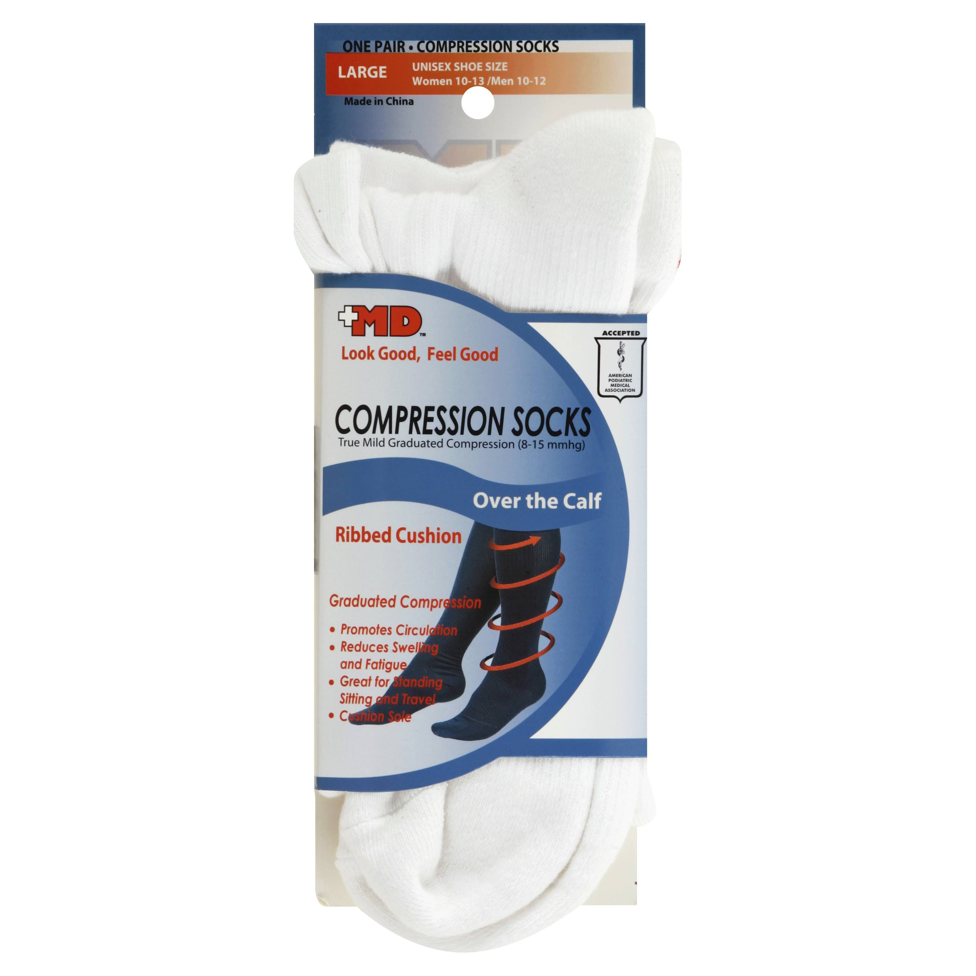 MD Ribbed Cotton Compression Socks with Cushion Soles - White, Large