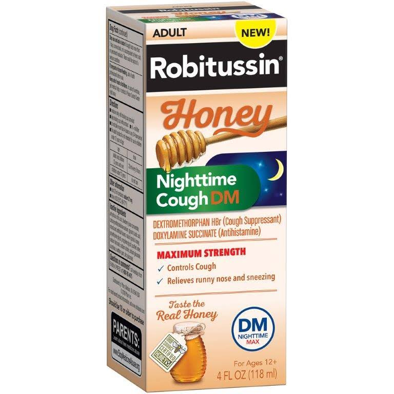 Robitussin DM Max Honey Nighttime Cough, 4 fl oz