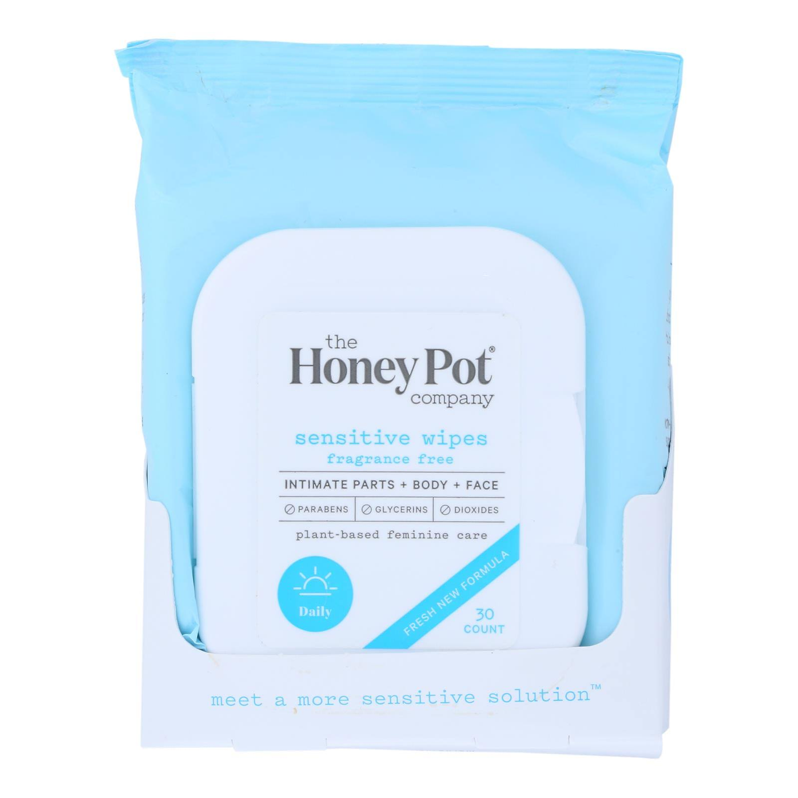 The Honey Pot Sensitive Intimate Wipes - Blue, 30 Wipes