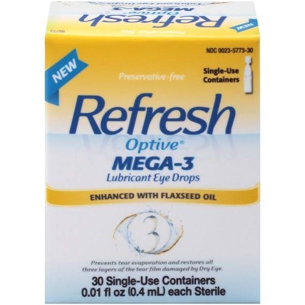 Refresh Optive Mega-3 Lubricant Eye Drops - 30 Single Use Sterile Containers