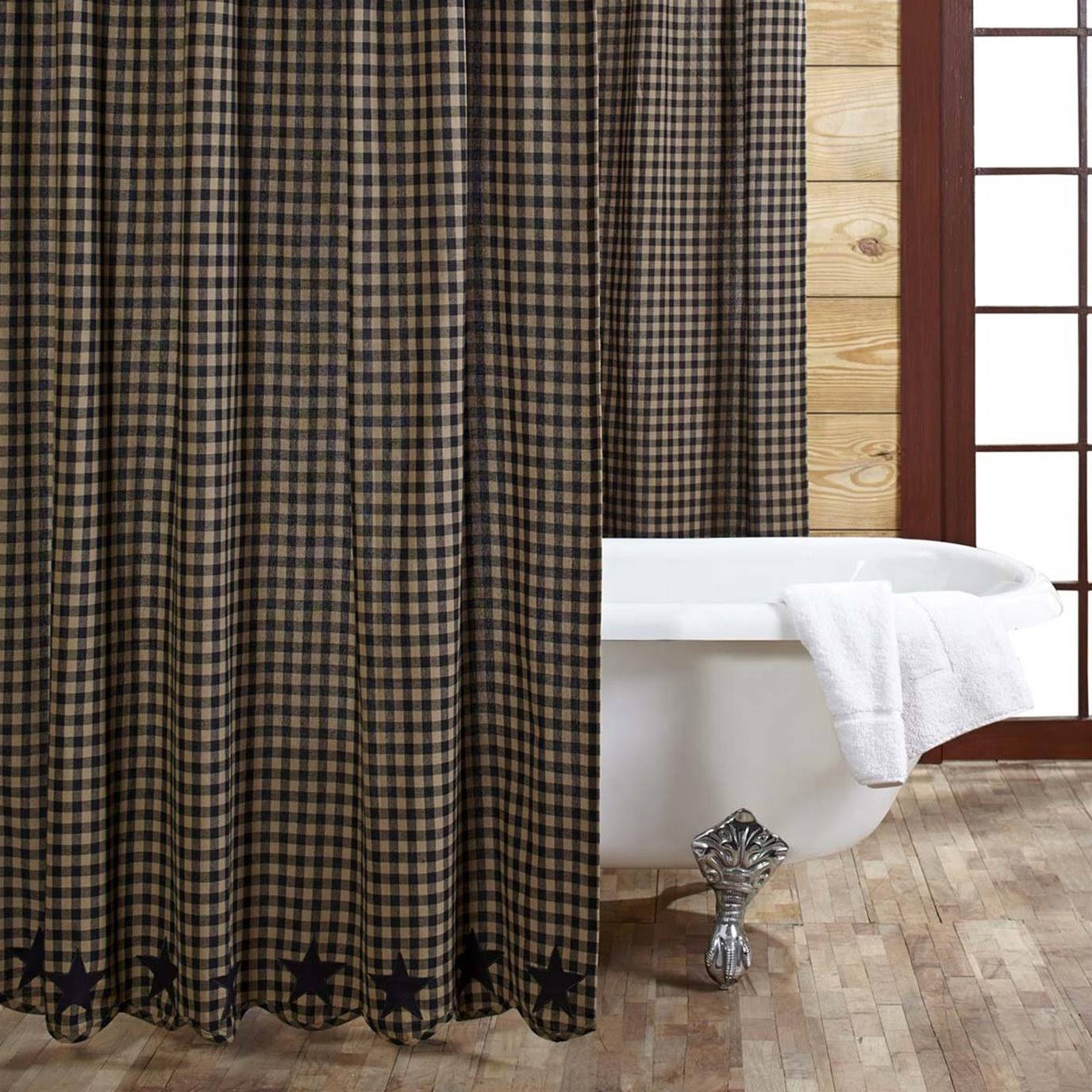 "VHC Brands 20146 Shower Curtain - Black Star, 72"" x 72"""