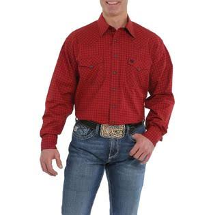Cinch Western Shirt Men Long Sleeve Print Snap MTW1682016 Burgundy