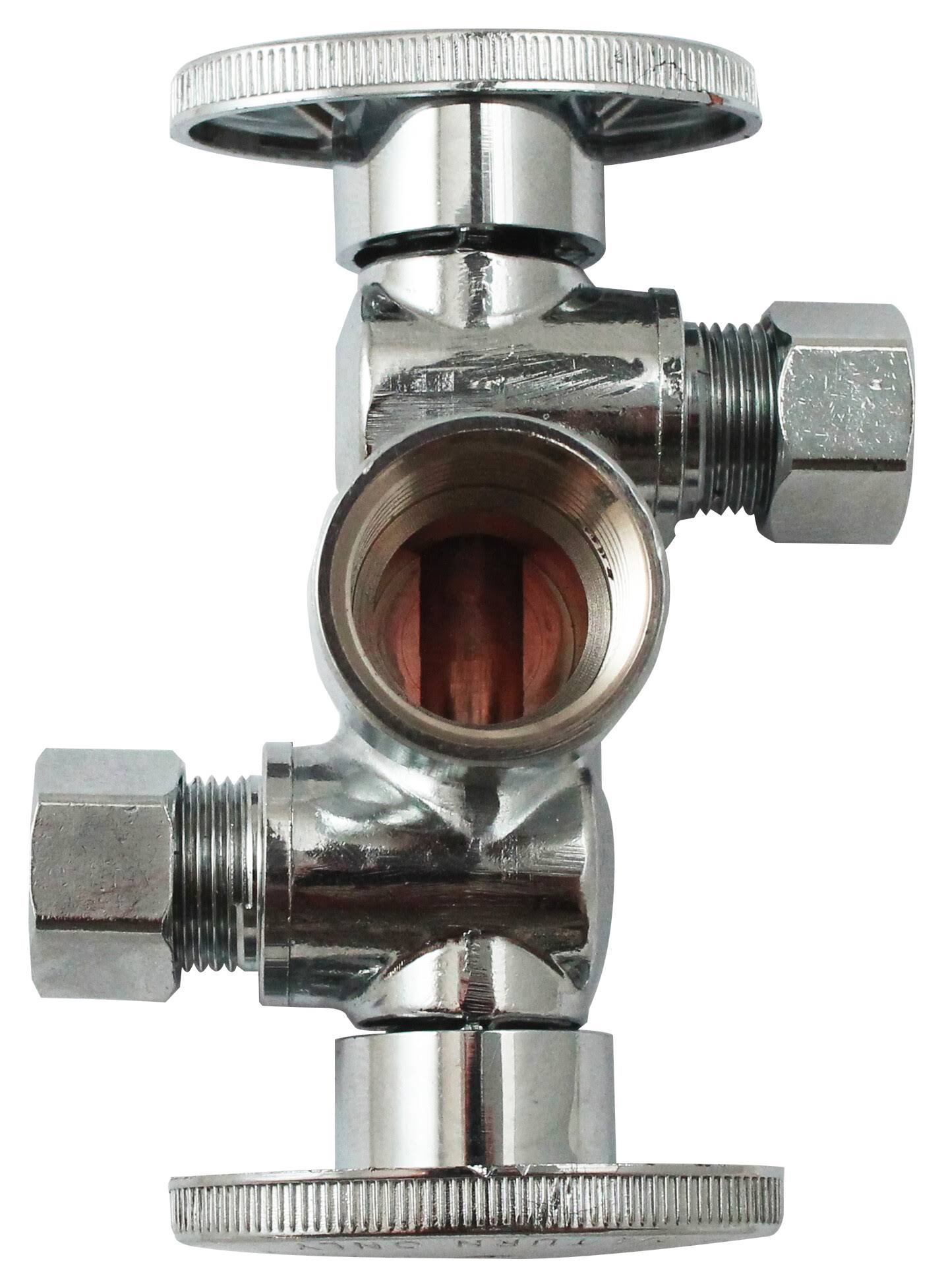 Keeney Quarter Turn Dual Shut-Off Valve - 1/2in x 3/8in