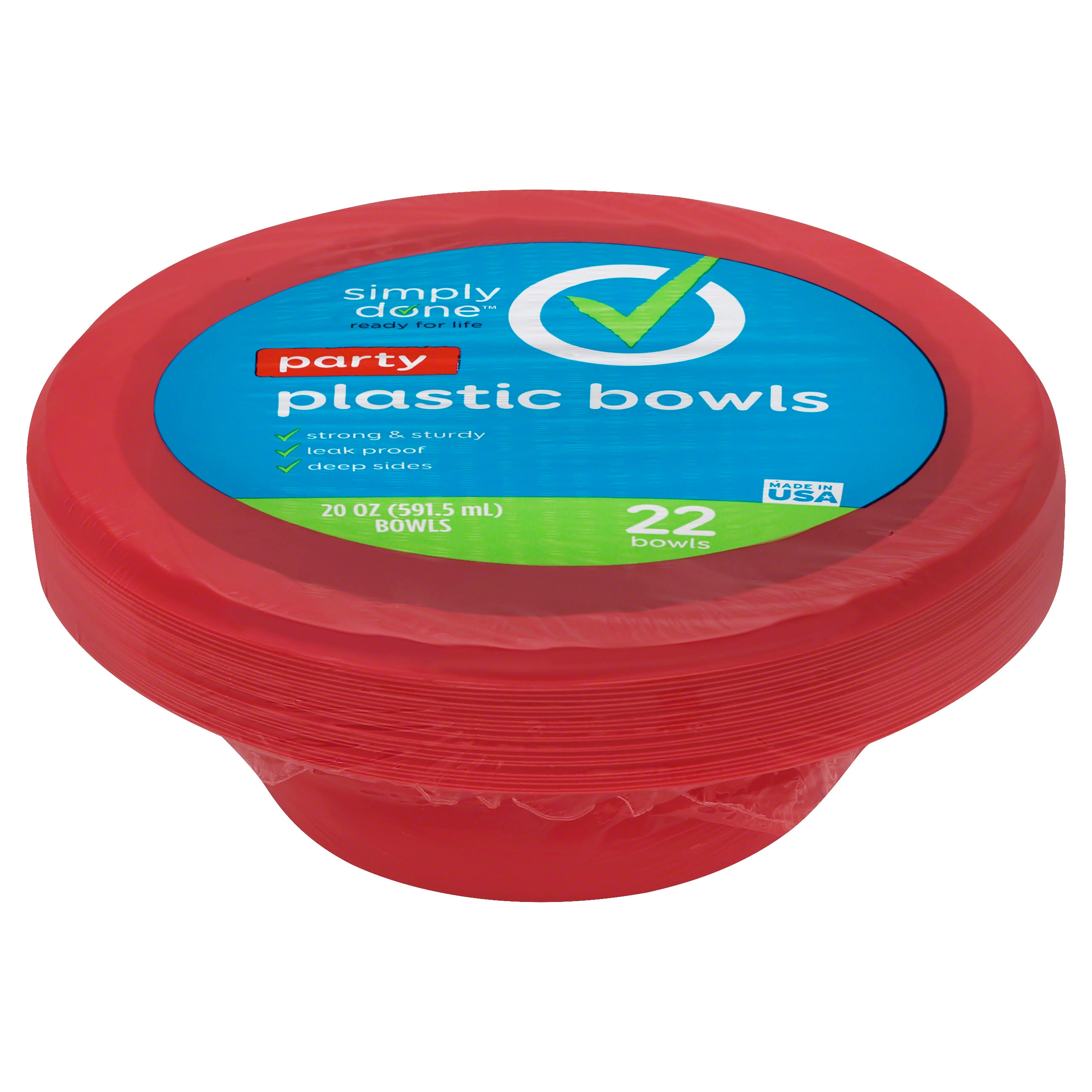 Simply Done Plastic Bowls, Party, 20 Ounce - 22 bowls