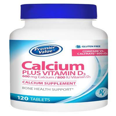 Premier Value Calcium + D Supplement - 600/800mg Tablet 120 ct. Premier Value.