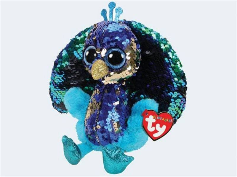 Ty Flippables Sequin Plush - Tyson The Peacock (Medium Size - 9 inch)