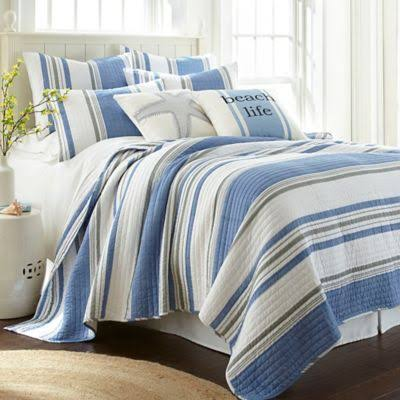 Levtex Home ST Bart Stripe King Quilt Set - Blue - Twin