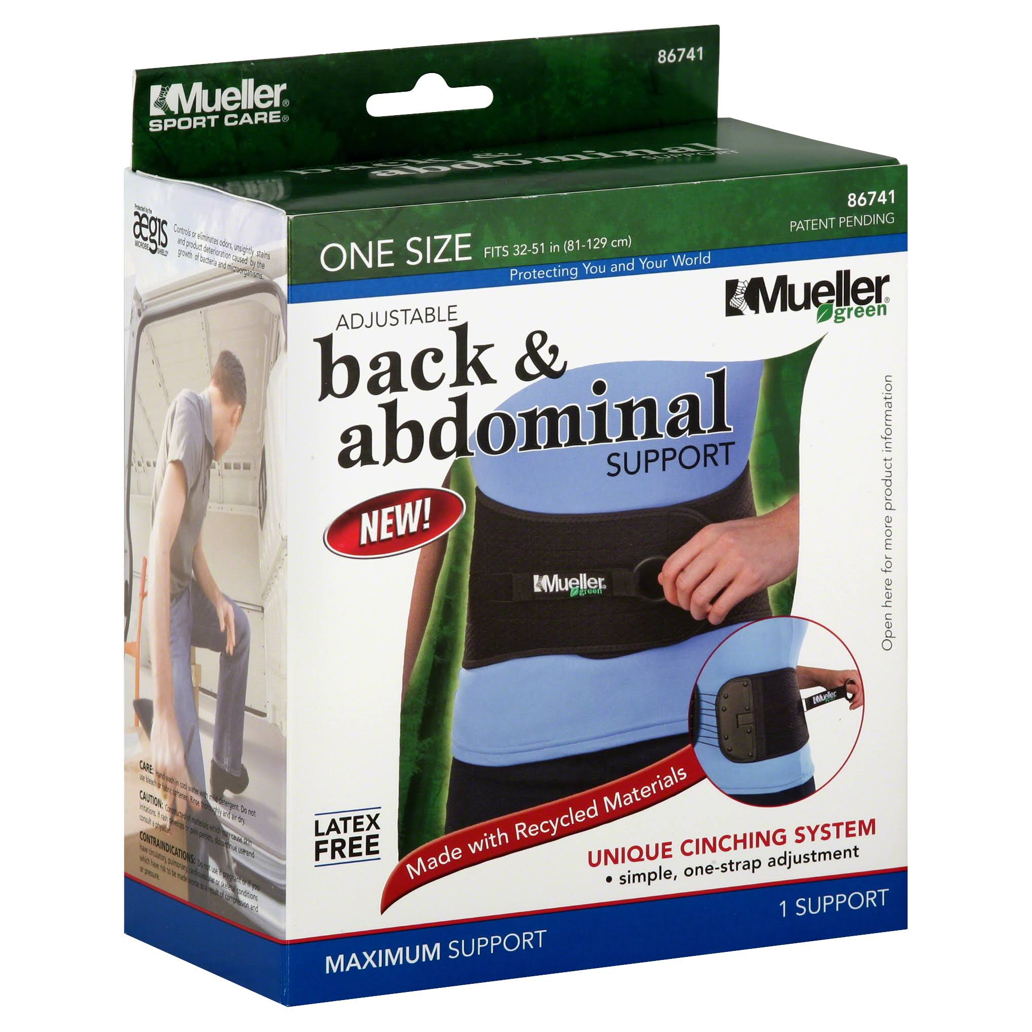 Mueller Adjustable Abdominal Back Support - Black, One Size