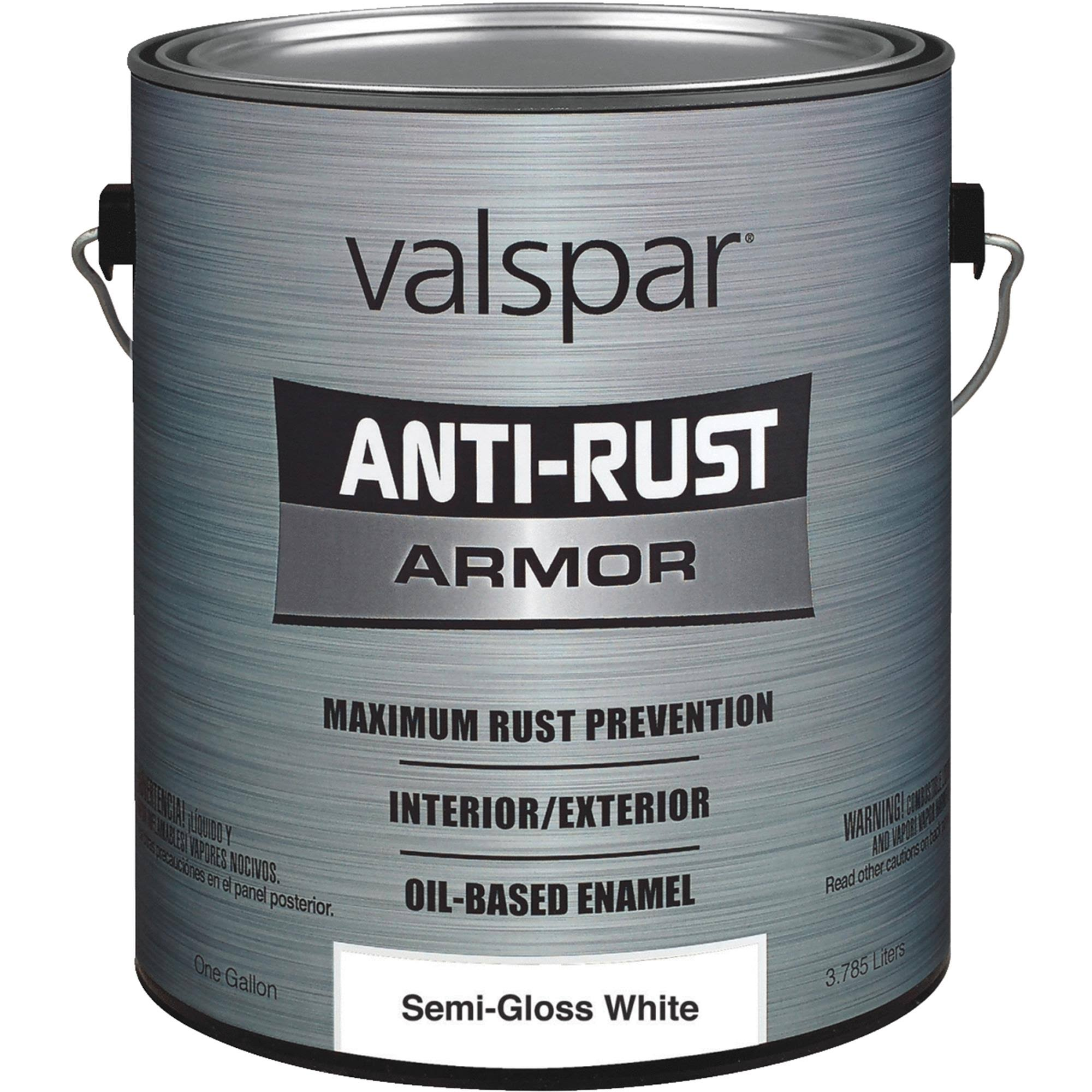 Valspar Anti Rust Oil-Base Enamel Paint - Semi-Gloss White, 1 Gallon