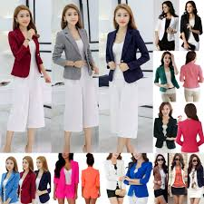 women one button slim casual business blazer suit jacket coat
