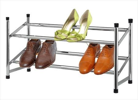 Sunbeam 2-Tier Chrome Expandable Shoe Rack