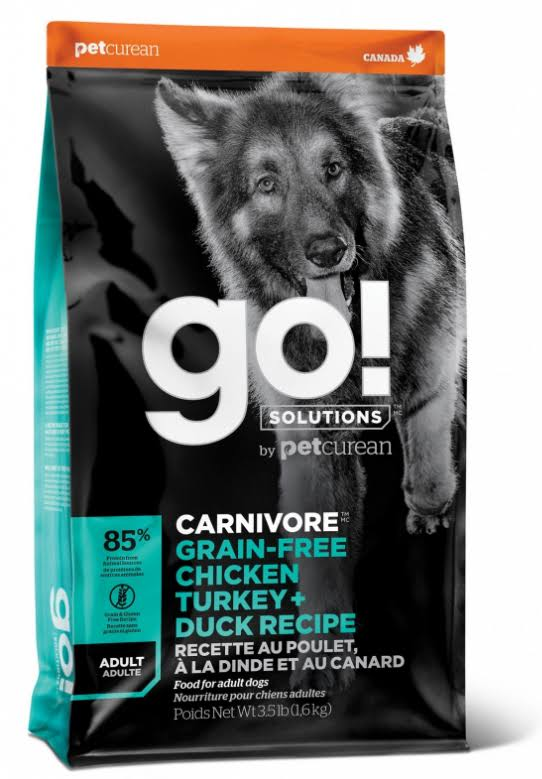 Go! Solutions Carnivore Grain Free Chicken, Turkey, & Duck Recipe Dry Dog Food, 22 lb