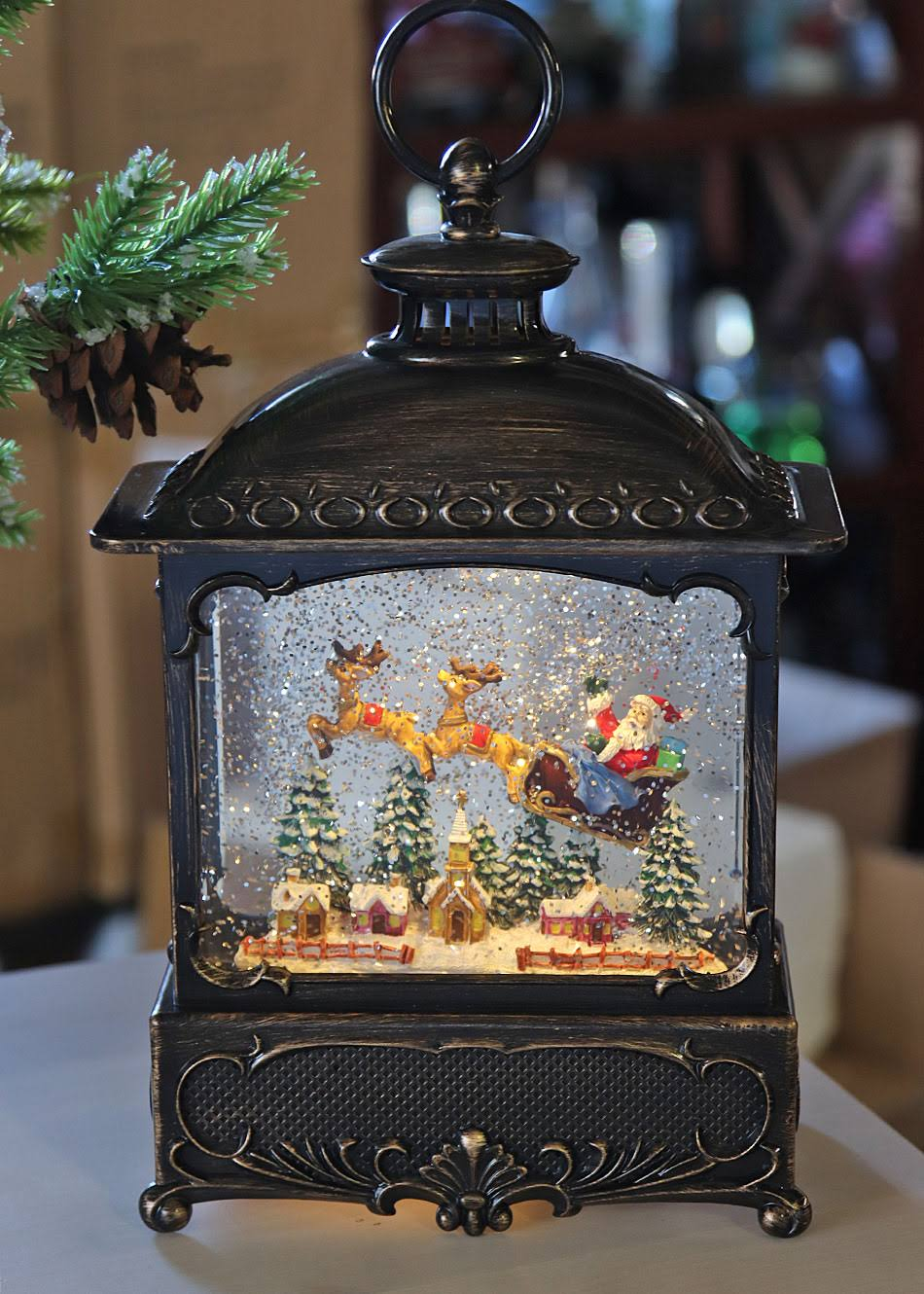 11 inch Decorative Bronze Water Lantern with Flying Santa in Swirling Glitter - Gerson