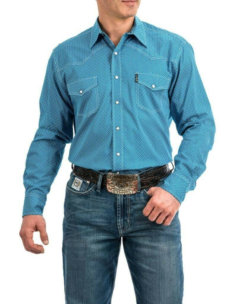Cinch Western Shirt Mens Long Sleeve Snap Front Blue MTW1312031