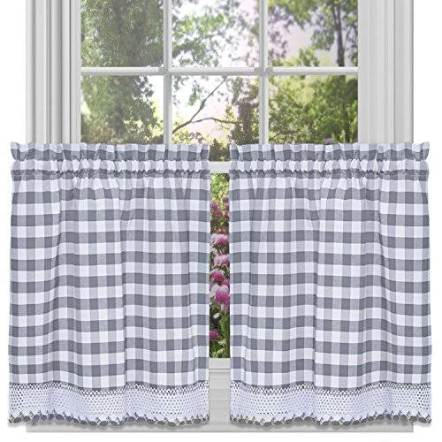 Achim Grey Buffalo Check Window Curtain Tier Pair