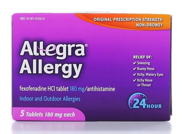 Allegra Allergy, 24 Hour, 180 mg, Non-Drowsy, Tablets - 5 tablets