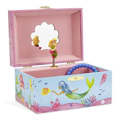 JewelKeeper Mermaid Musical Jewellery Box - Underwater Design with Narwhal Design, 15cm x 10.8cm x 8.6cm