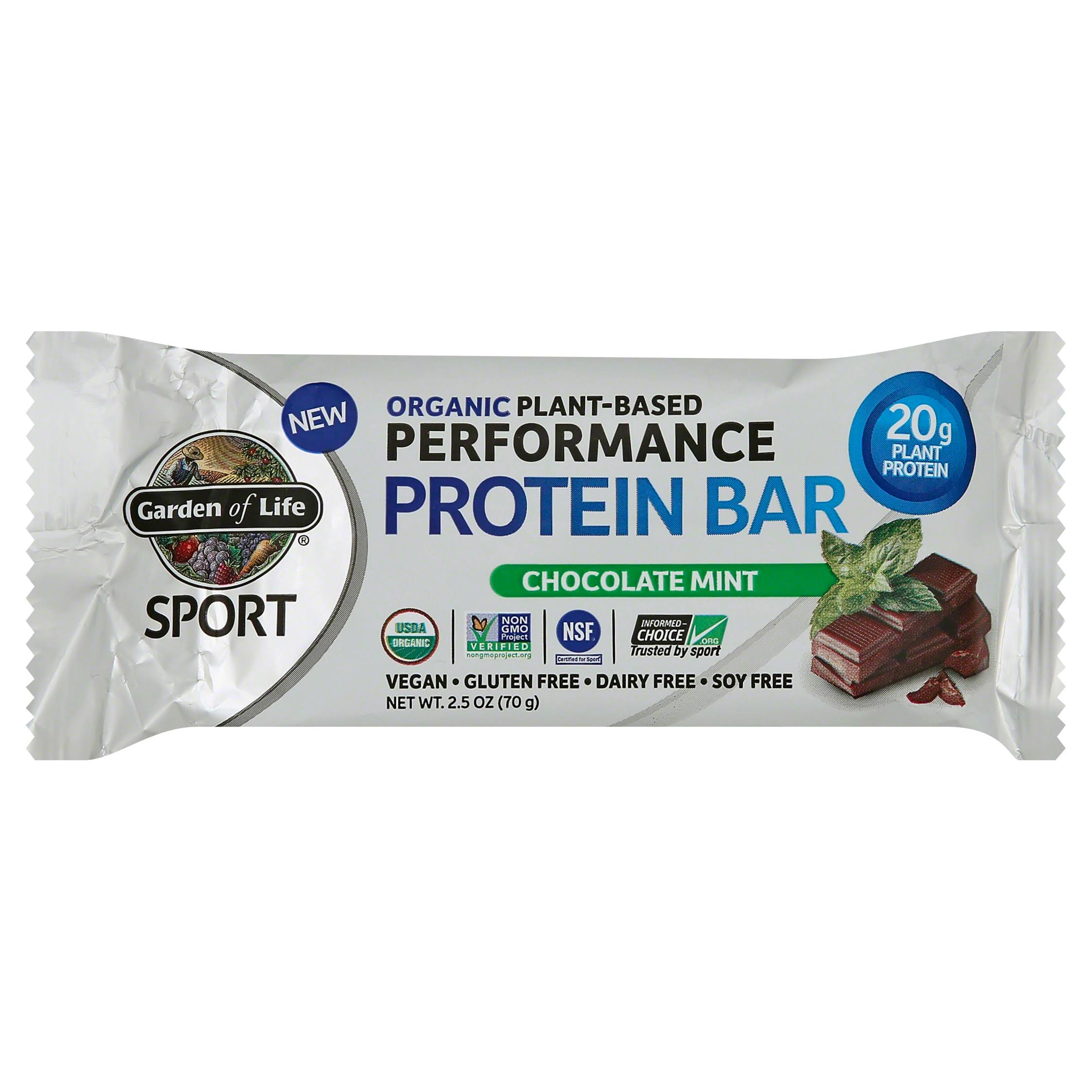 Garden of Life Sport Protein Bar, Performance, Plant-Based Organic, Chocolate Mint - 2.5 oz