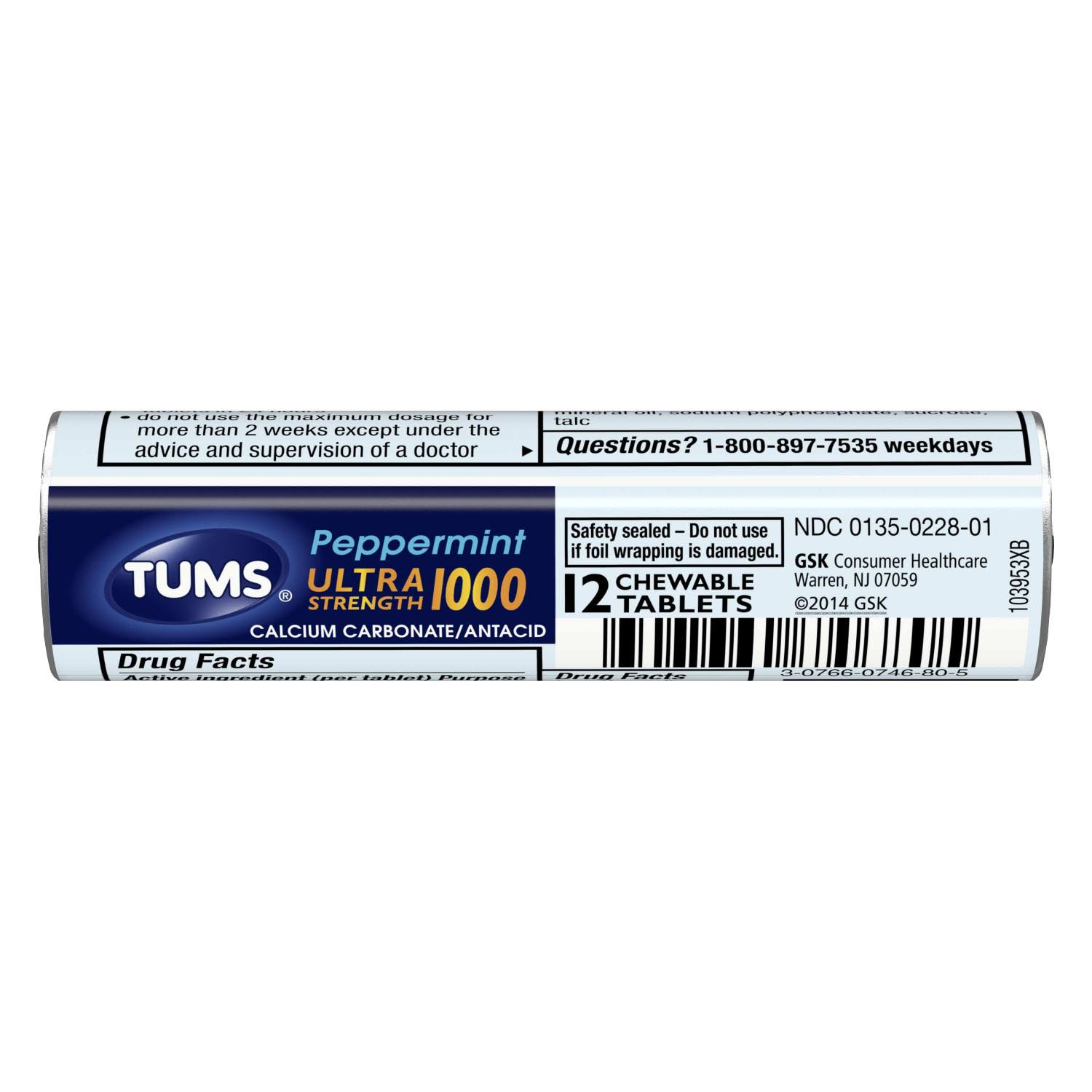 Tums Ultra Strength Antacid - Peppermint, 12ct
