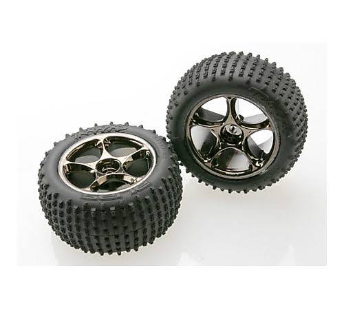 Traxxas Alias Tires Pre-Glued on Tracer Wheels - Black Chrome, 2.2""