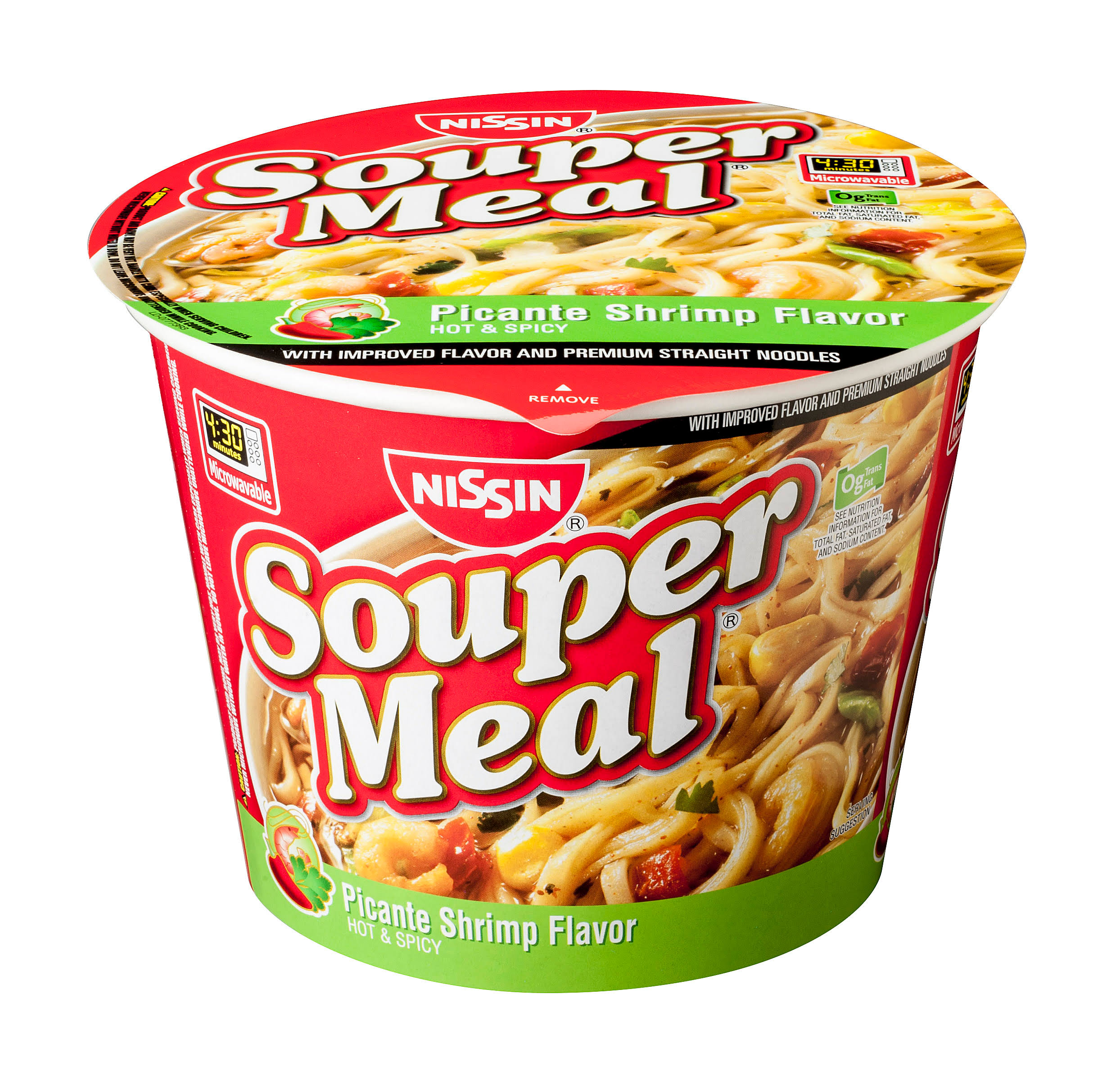 Nissin Souper Meal Bowl Instant Noodle Soup - Picante Shrimp, Hot and Spicy, 4.03oz