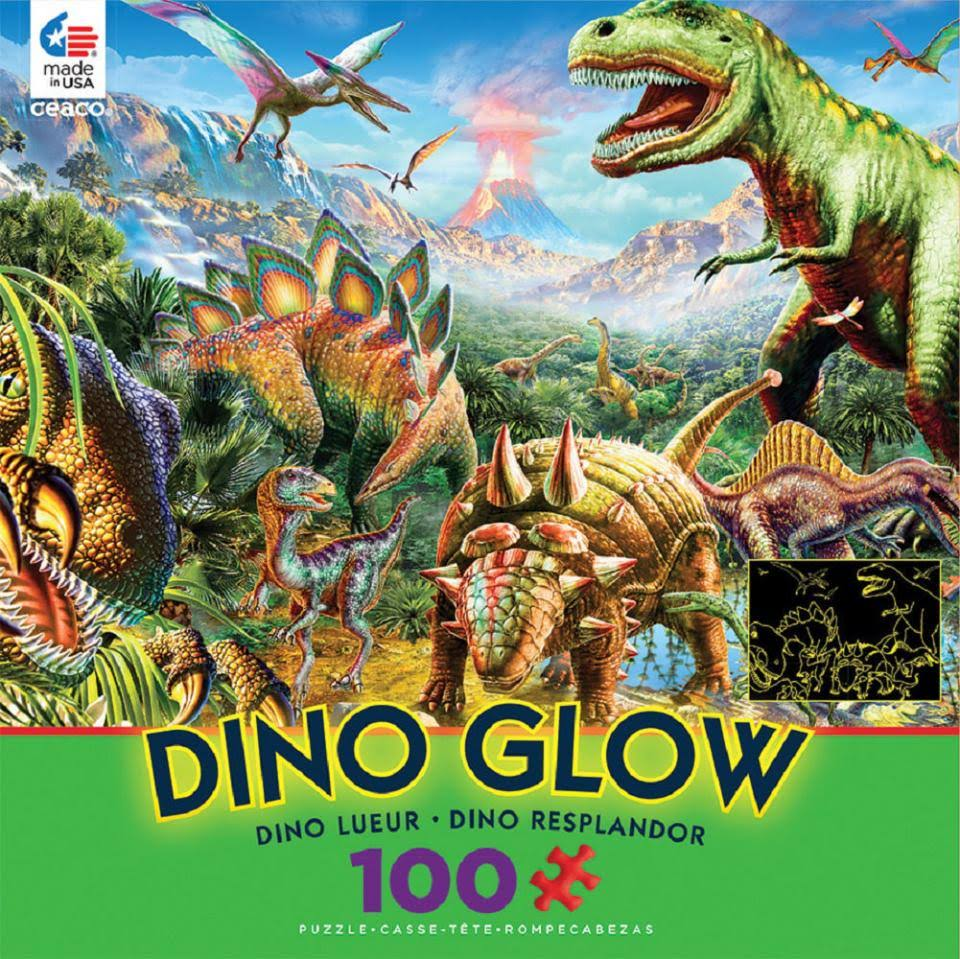 Ceaco Dino Glow in the Dark Jigsaw Puzzle - 100 Piece, Dino Party