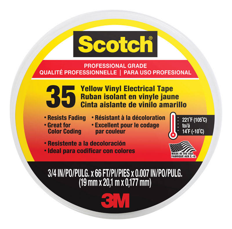 "3M Scotch #35 Electrical Tape - Yellow, 3/4"" x 66'"