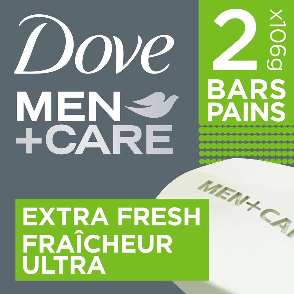 Dove Men+Care Extra Fresh Body + Face Bar - 2 x 4 oz