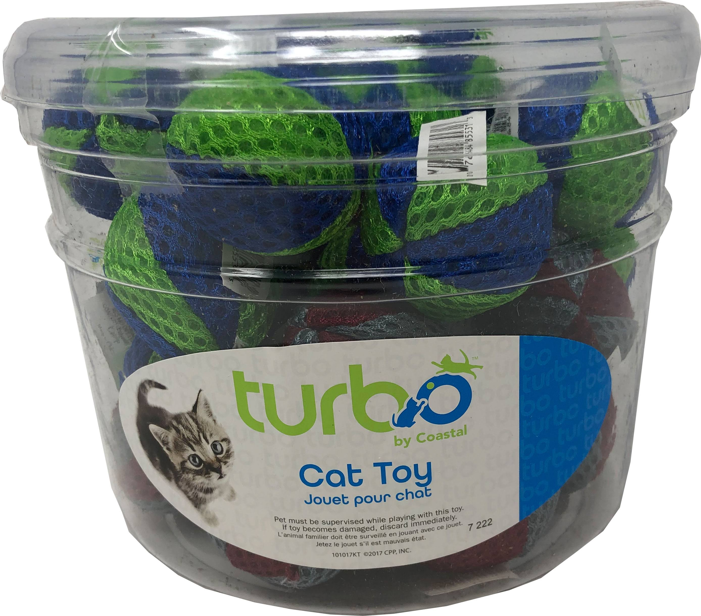 Coastal Pet Products 80531 NCLCAT Turbo Beach Balls Cat Toy Canister - Multicolor 36 Piece - Pack of 8