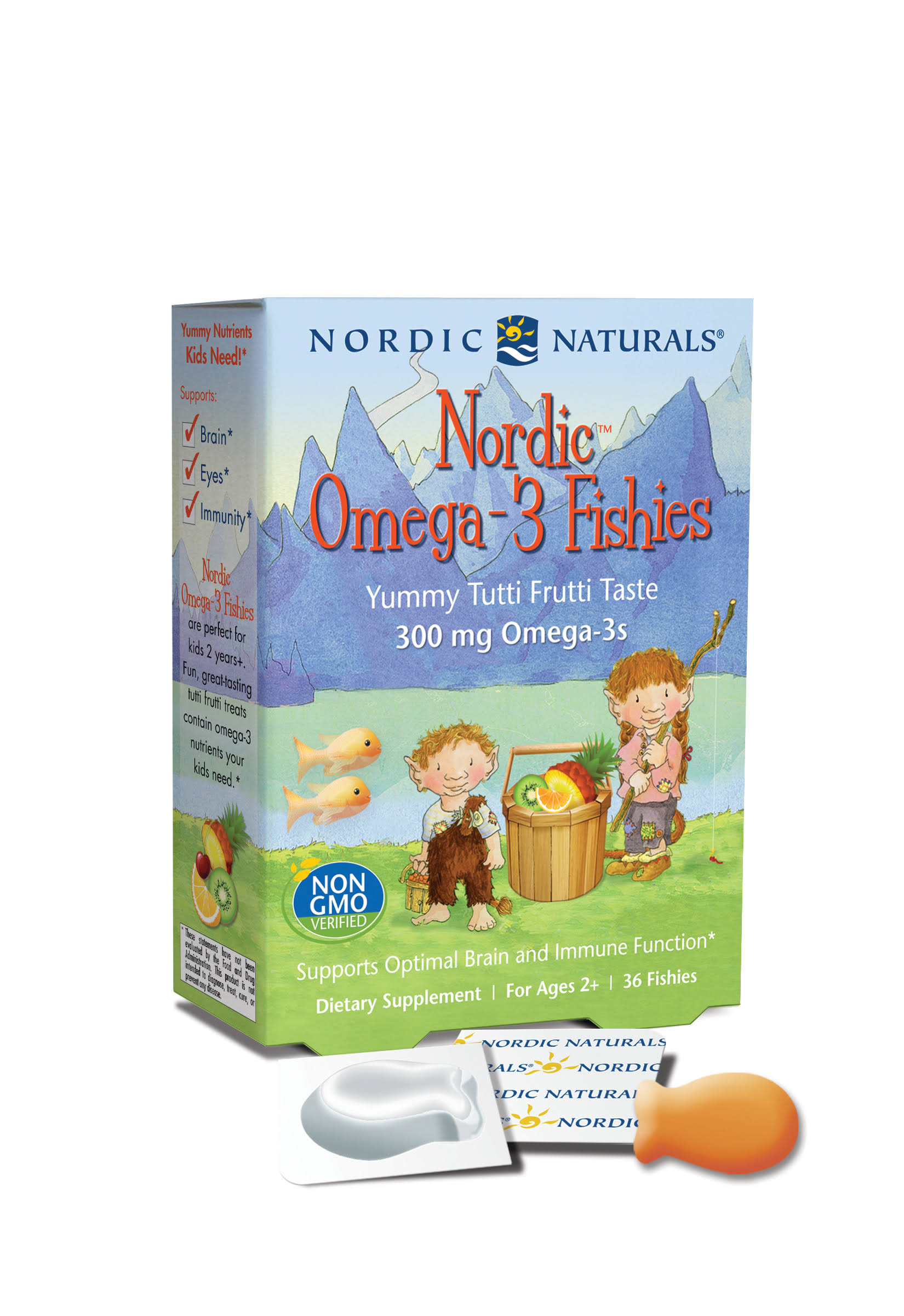 Nordic Naturals Omega-3, 300 mg, Fishies, Yummy Tutti Frutti Taste - 36 fishies
