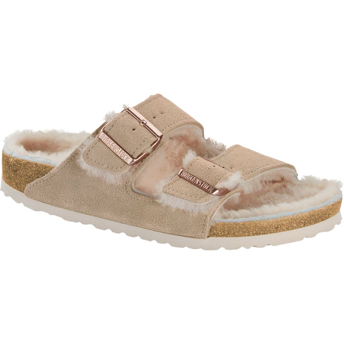 \Birkenstock Women's Arizona Shearling-Lined Suede Sandals - Nude, 37 EU