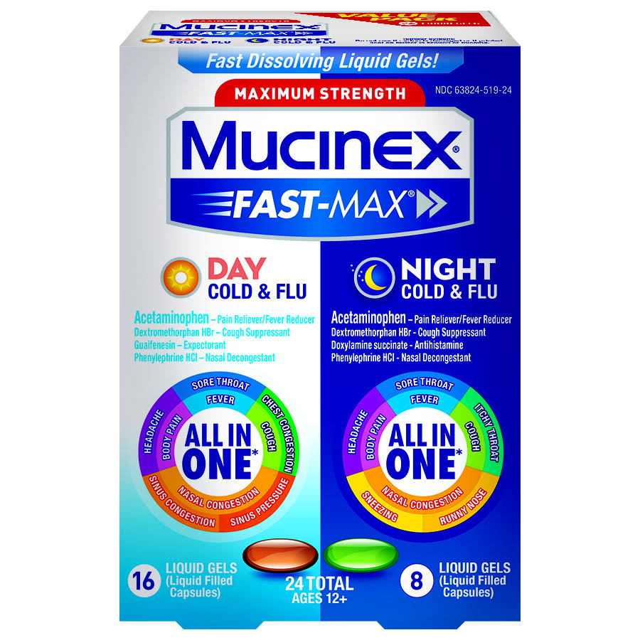 Mucinex Fast-Max Day Severe Cold & Night Cold & Flu Liquid Gels Value Pack Ages 12+ - 24 Pack