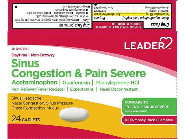 Leader Sinus Congestion & Pain Severe Caplets - x24