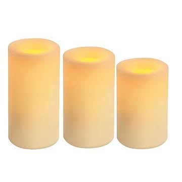Inglow Flameless Candles Round Pillars with Timer - Cream Vanilla Scented, Set of 3
