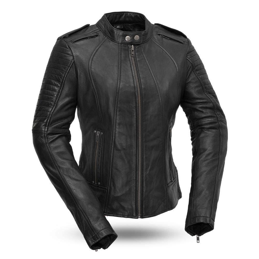 First Manufacturing Biker - Women's Leather Motorcycle Jacket Black
