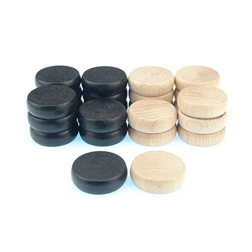 24 Crokinole Discs, 12 Black and 12 White. Made of Wood. regulation Tournament Weight and Size. Refill Pack or Replacement Discs for Crokinole & C