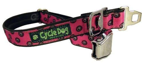 Cycle Dog Bottle Opener Recycled Dog Collar with Seatbelt Metal Buckle - Pink Icon, Large