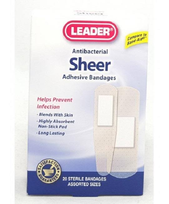 Leader Sheer Adhesive Bandages, Assorted, 20ct 096295124118A134