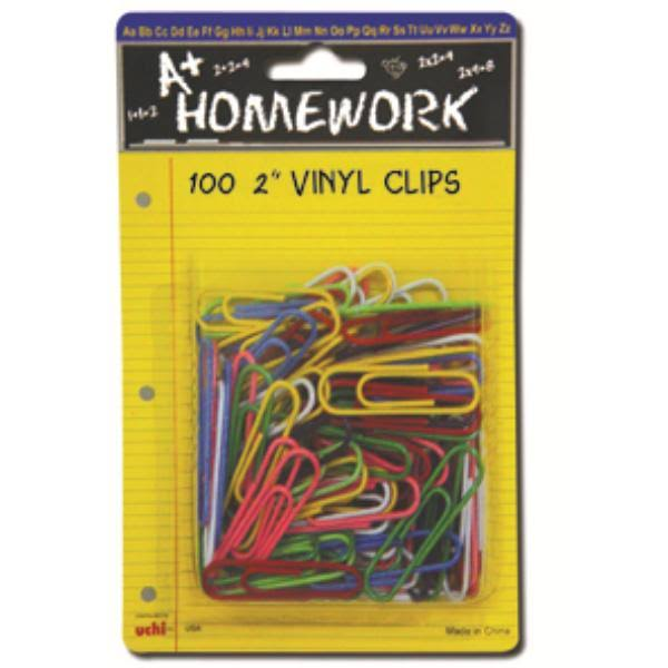 A+ Homework 2 Vinyl Carded Paper Clips - 100 Counts - Assortment*