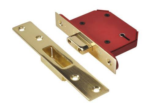 Union StrongBOLT 2105S Polished Brass 5 Lever Mortice Deadlock Visi