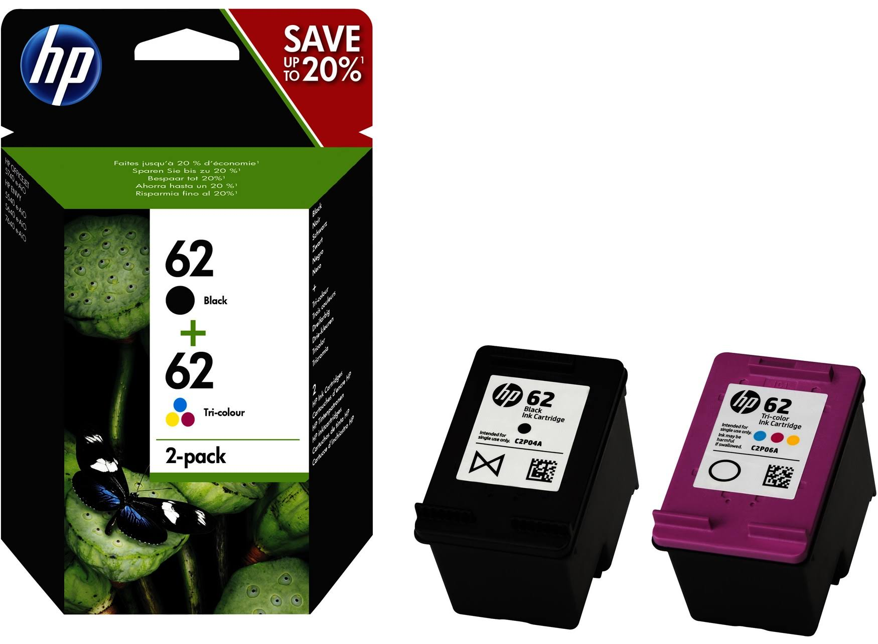 HP 62 Original Ink Cartridge Combo - 2 Pack