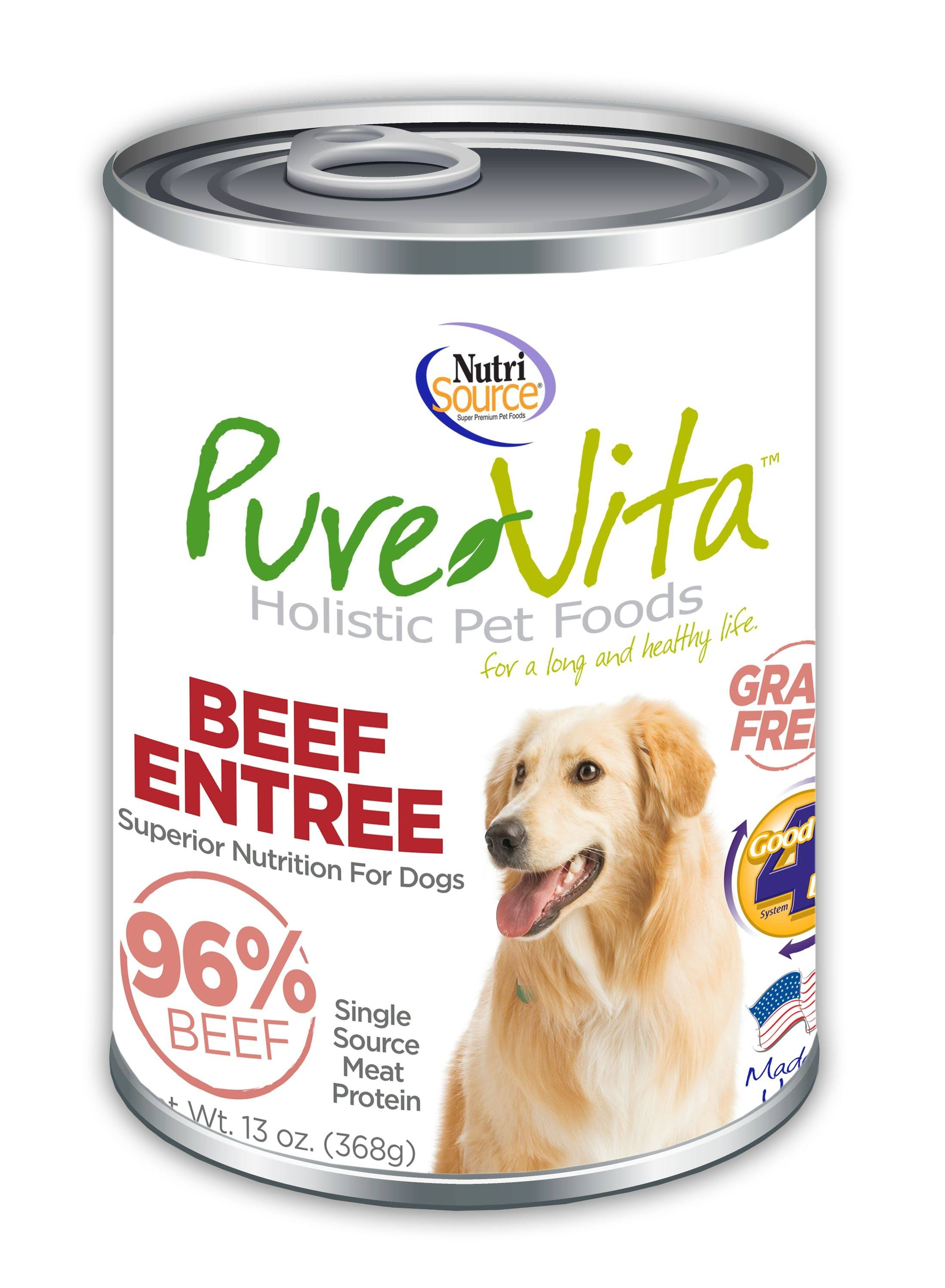PureVita Beef Entree 96% Beef Grain-Free Wet Canned Dog Food, 13oz