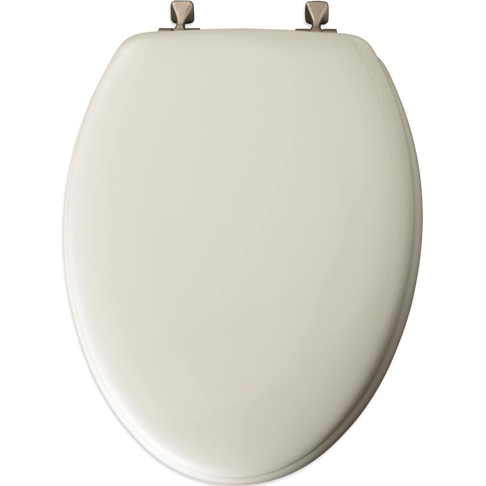 Mayfair 144BNA 000 Molded Wood Toilet Seat with Brushed Nickel Hinges - Elongated, White