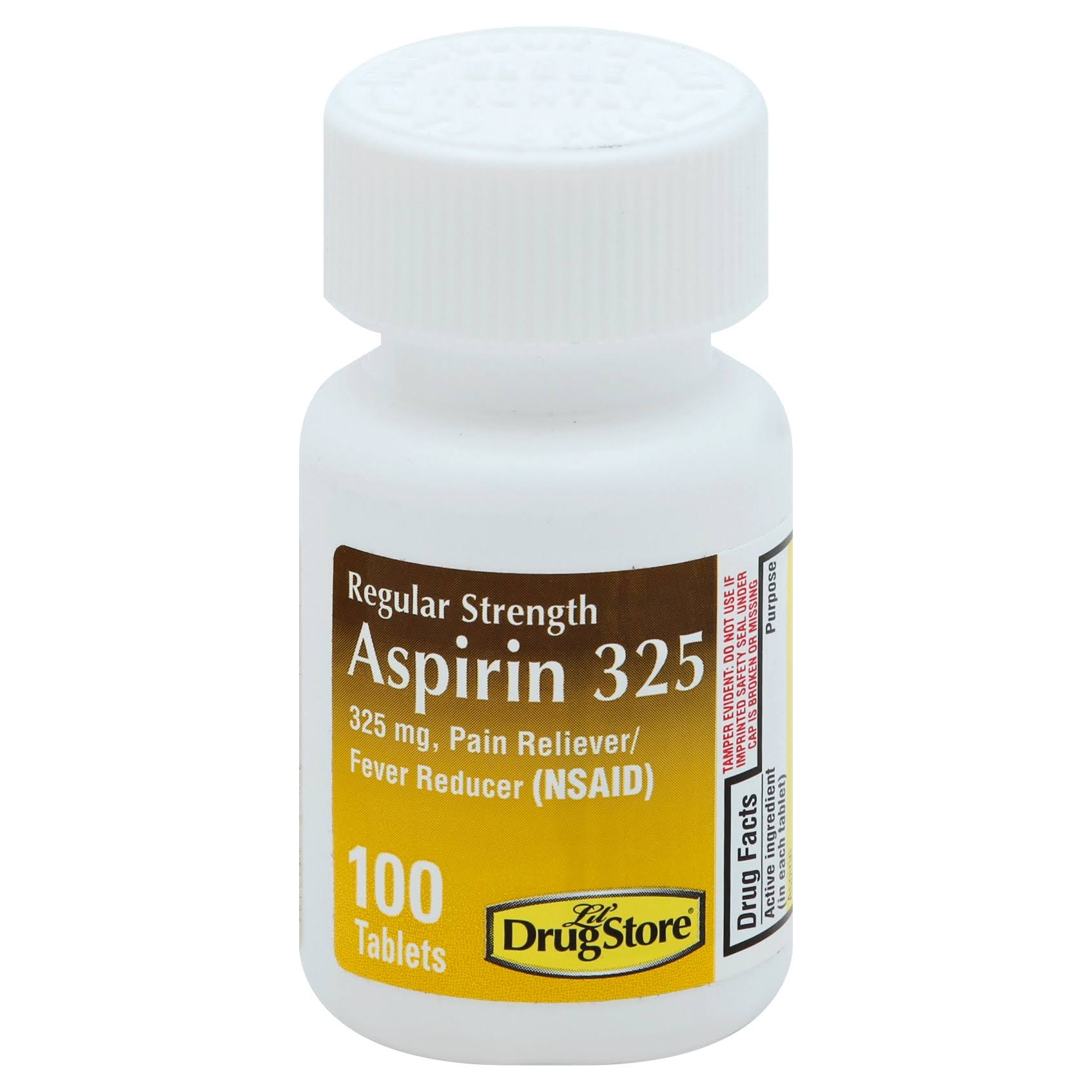 Lil Drug Store Aspirin 325, Regular Strength, 325 mg, Tablets - 100 tablets