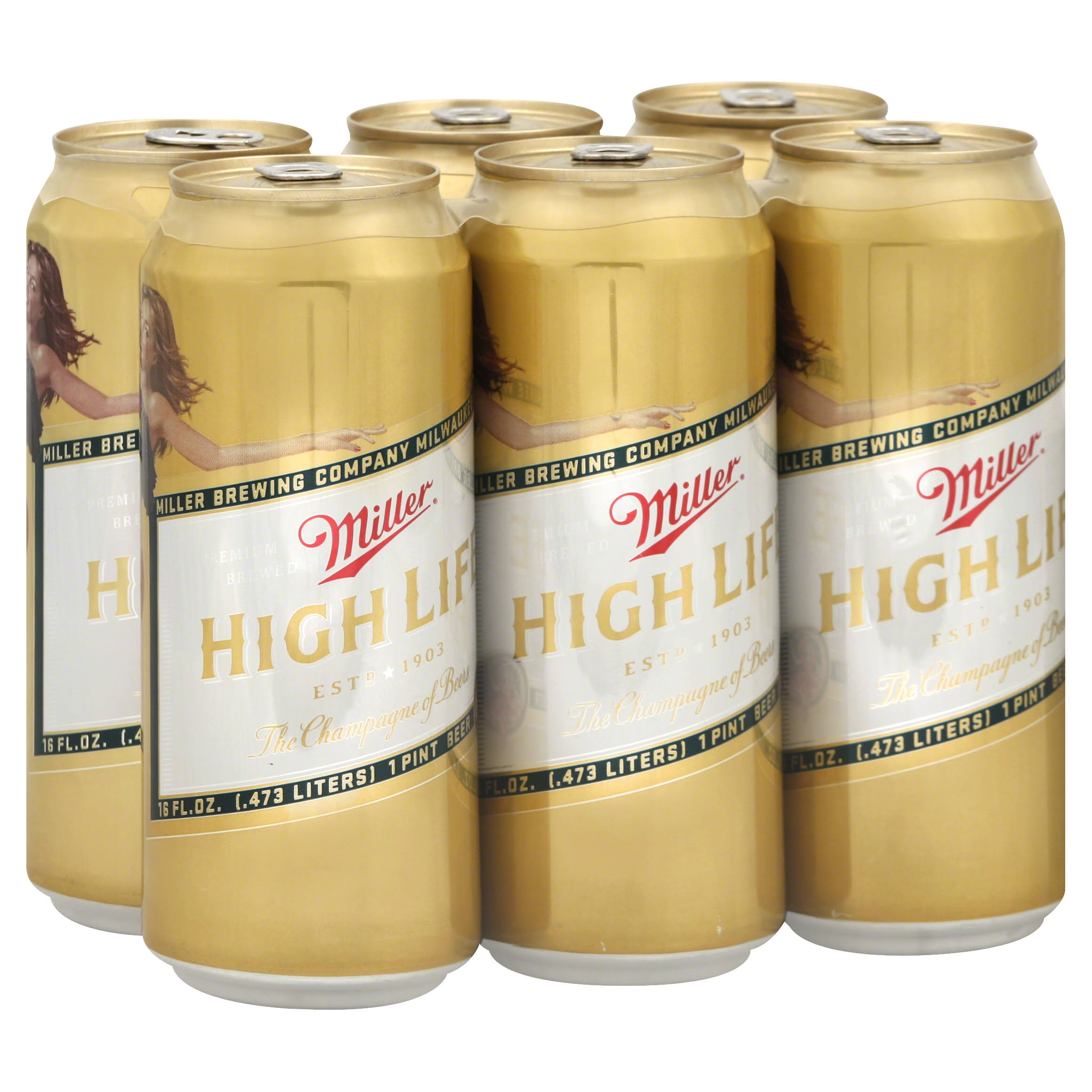 Miller High Life Beer - 16oz, 6pk