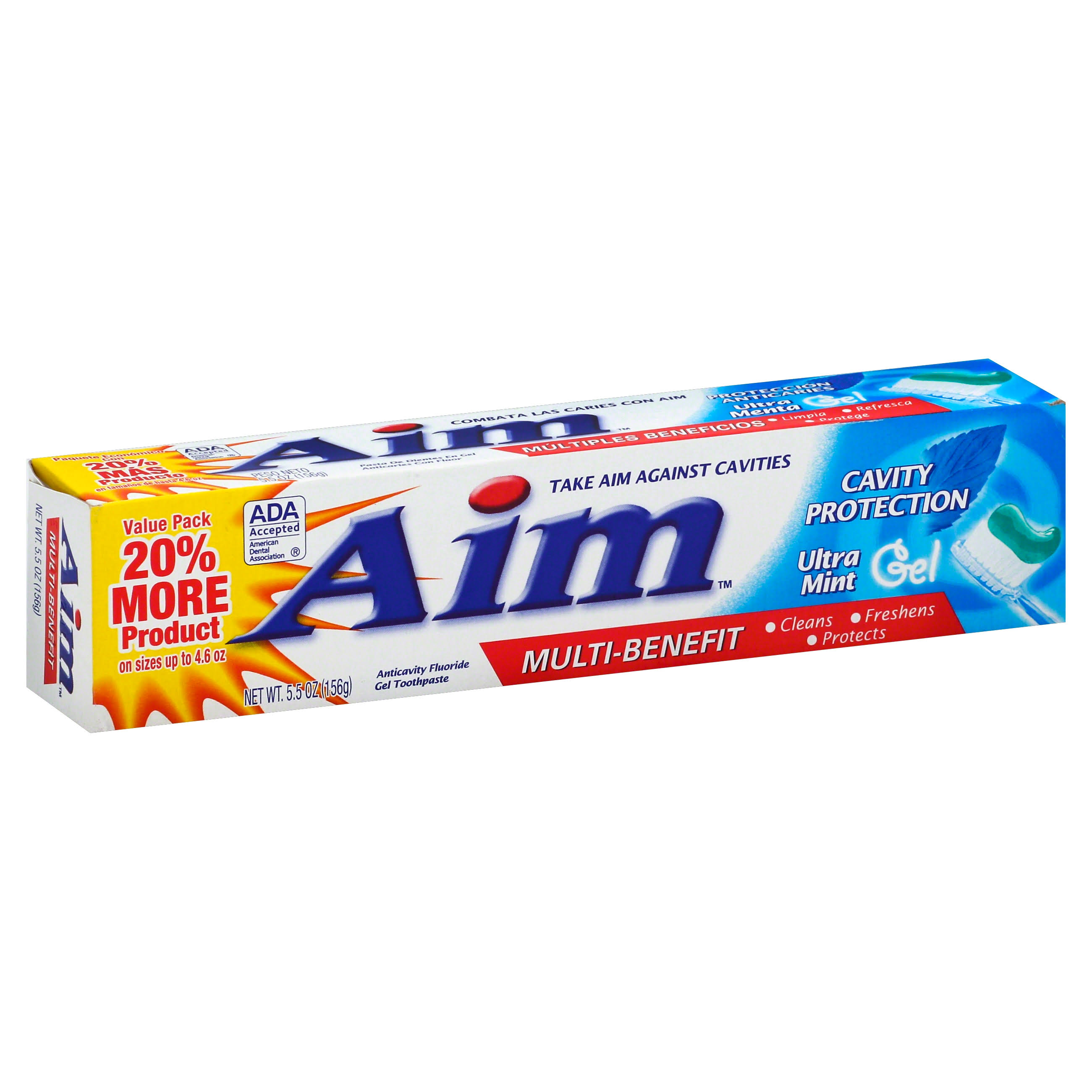 Aim Cavity Protection Toothpaste - Ultra Mint Gel, 5.5oz, 3pk