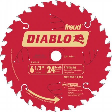 Freud 6-1/2 24t Diablo Circular Saw Framing Blade - 10 Pack