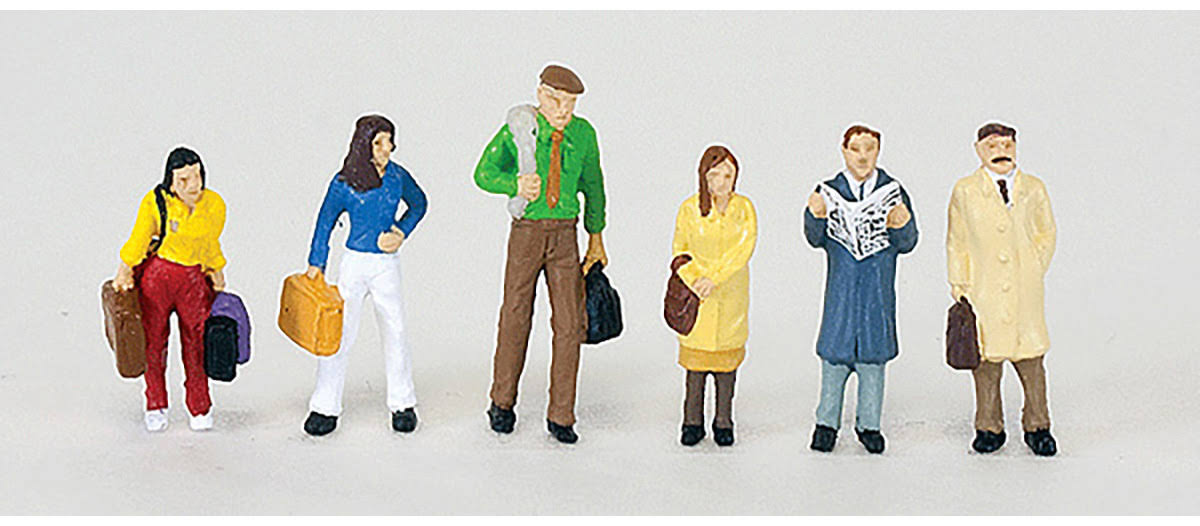 Walthers SceneMaster HO Scale People/Figures Railroad Passengers (6-Pk) 949-6007
