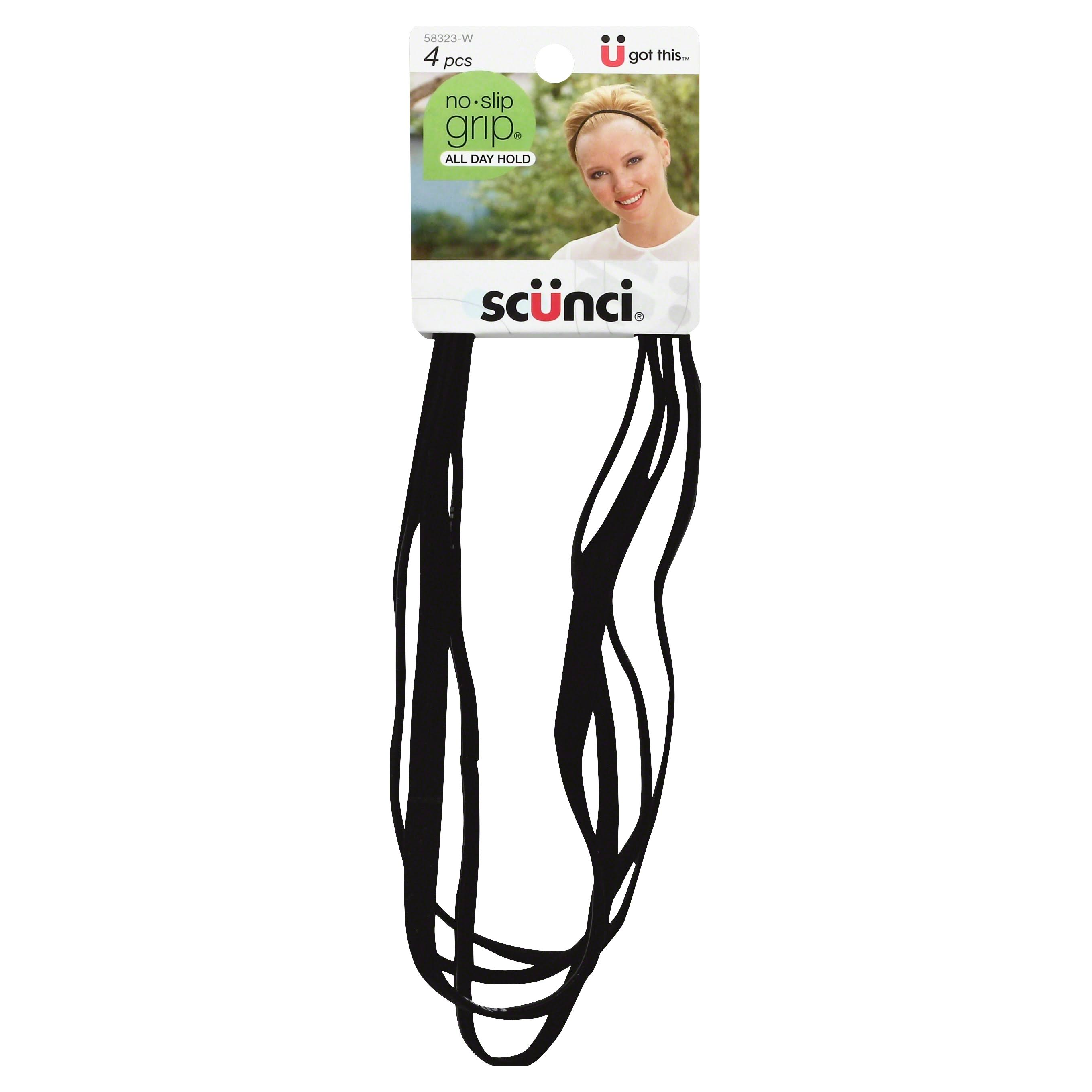 Scunci No-Slip Grip Flat Headwraps - Black