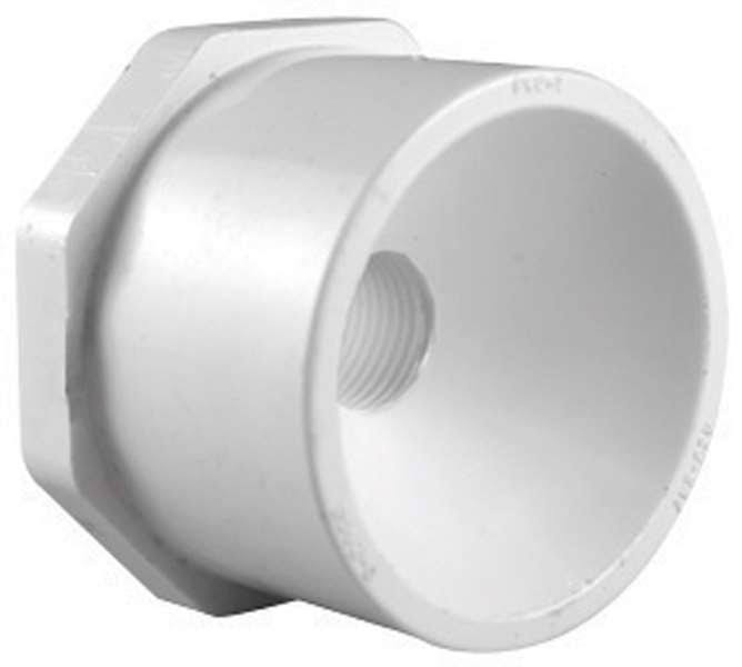 "Charlotte Pipe PVC Reducing Bushing - 1"" x 1/2"", White"